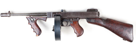Old mashine gun. Old 30's gangster machine gun isolated on white background royalty free stock images