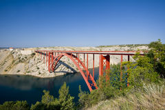 Old Maslenica bridge Royalty Free Stock Photography