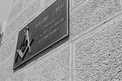 Old Masonic temple sign Royalty Free Stock Photos
