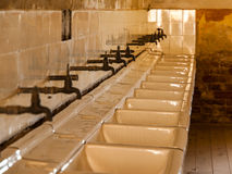 Old mass bathroom in prison Stock Photo