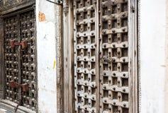 Old massive wooden door on the Srone Town street Stock Photo