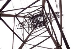 Old mast of power lines Royalty Free Stock Images