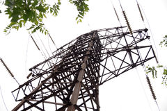 Old mast of power lines Stock Photography