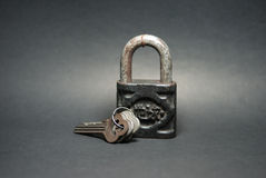 Old Master Key. Even it's very old but still can use. Isolated Object royalty free stock images