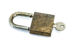 Old master key. Rusty and key lock isolation Royalty Free Stock Photography