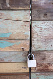 Old master key on the wood door Stock Photography