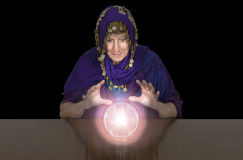 Mature Senior Woman Gypsy, Fortune Teller, Crystal Balll Royalty Free Stock Photography