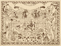 Old mayan or aztec map with two gods and fantasy land on paper background. Old mayan, aztec or pirate map with two gods, ships and fantasy land on ancient paper Royalty Free Stock Photos