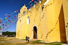 Old Mayan Church. Yellow mayan church, Oxcutzcab, Yucatan, Mexico Stock Photos