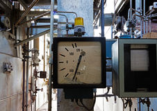 Old measuring instrument in an abandoned factory Stock Photo