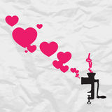 Old meat-grinder and hearts. Royalty Free Stock Photo