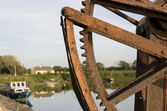 Old mechanical crane on Salleen pier Royalty Free Stock Photos
