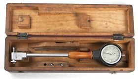 Old mechanical curvimeter in a box Stock Photo