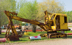 An old mechanical shovel on display at fort nelson, bc Stock Photography