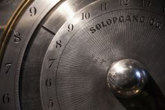 Old mechanical world clock deal, close-up Stock Photo