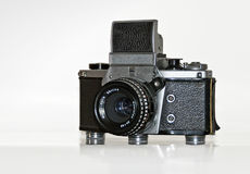 Old mechanically operated single-lens reflex camer Stock Photo