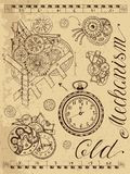 Old mechanism of clock in steampunk style Stock Photos