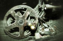 Old mechanism. A close up photo of an old gear mechanism Stock Images