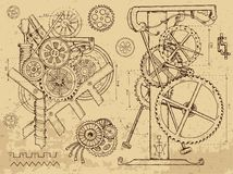 Old mechanisms and machines in steampunk style Royalty Free Stock Image