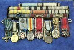 Old medals in a Romanian museum Royalty Free Stock Image