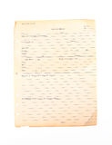 Old Medical Form Stock Images