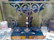 Old medical scales in Prague stock image