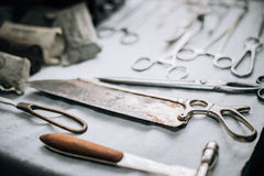 Old medical and surgical instruments Royalty Free Stock Photo