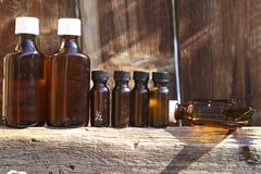 Old medicine bottles Stock Images