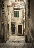 Old medieval alley. Stone medieval old alley in old town of Sibenik, Croatia Stock Photography