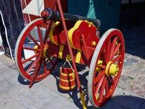 Old medieval artillery canon ball Stock Photo