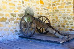Old medieval artillery canon. In the castle Royalty Free Stock Photo