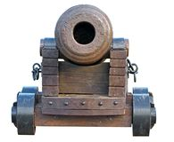 Free Old Medieval Artillery Canon On White Royalty Free Stock Image - 109077196