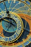 Detail of the Prague Astronomical Clock Orloj in the Old Town of Prague. Gothic, hours. Old medieval astronomical clock Orloj stock images