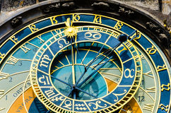 Old medieval astronomical clock & x28;Orloj& x29;. In Prague on the Old Town Square. Colourful low angle view stock images