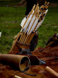Old medieval bow and arrows Stock Images