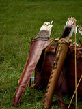 Old medieval bow and arrows Royalty Free Stock Images