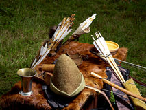Old medieval bow and arrows Royalty Free Stock Photo