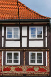 Old medieval building in Hameln, Germany. Fragment of medieval building in the Weser Renaissance style in Hameln, Germany Stock Image