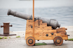 Old medieval cannon. Antique gun Stock Image