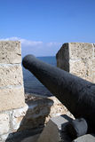 Old medieval canon. At Larnaca harbor - Cyprus Stock Photography