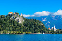 Old medieval castle above Bled lake in Slovenia Stock Photography