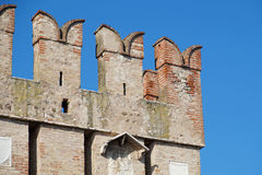 Old medieval castle . fortified wall and tower detail Royalty Free Stock Photography