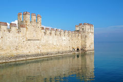 Old medieval castle . fortified wall and tower detail Stock Images