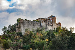 Old medieval castle, located on a hill near harbor of Portofino town, Italy Stock Image