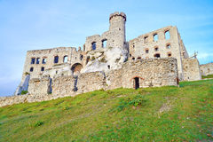 Old medieval castle on rocks. Ogrodzieniec, Poland Royalty Free Stock Images