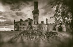 Old medieval castle ruins, tree and stormy sky in sepia style royalty free stock photo