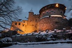 Old medieval castle in Vaduz, Liechtenstein. Vintage landmark. Vaduz Castle is the palace and official residence of the Prince of Liechtenstein royalty free stock photography