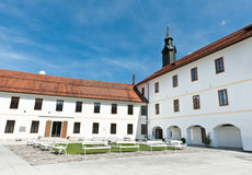 Old medieval castle yard. Skofja Loka Castle, Slovenia Stock Image