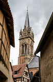 Old medieval church in Alsace Stock Photo