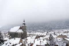 Old medieval church - Black Church at winter time. Brasov, Romania Stock Photo